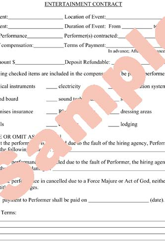 Entertainment Contracts Templates. 6 free entertainment contracts ...