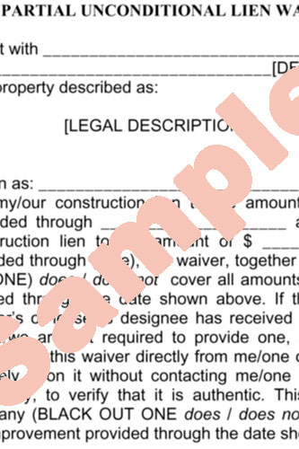 partial lien waiver template - form contract inc affordable legal document templates